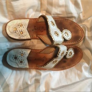 White & Gold Jack Rogers Sandals